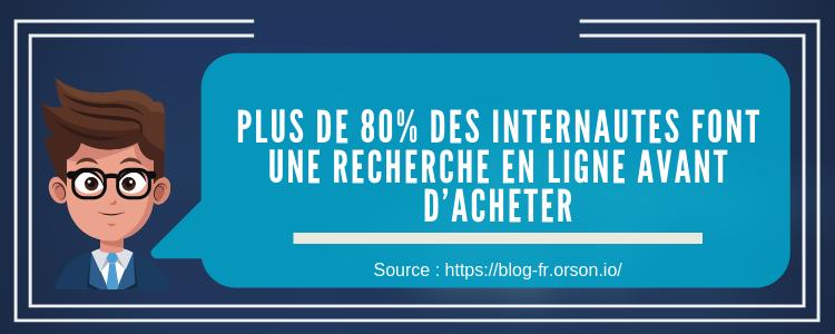 Plus de 80% des internautes font une recherche en ligne avant d'acheter