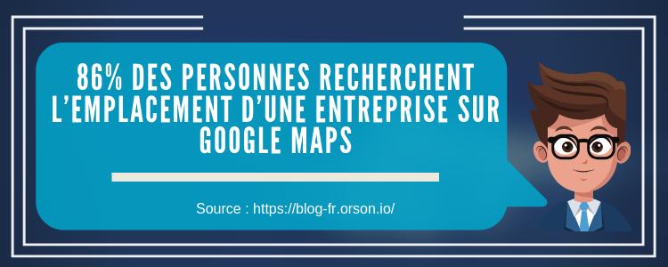 86% des personnes recherchent l'emplacement d'une entreprise sur Google Maps