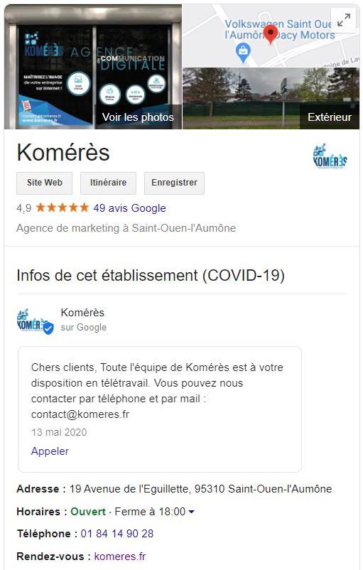 FIche Google My Business de l'agence de communication web et print Komérès 95
