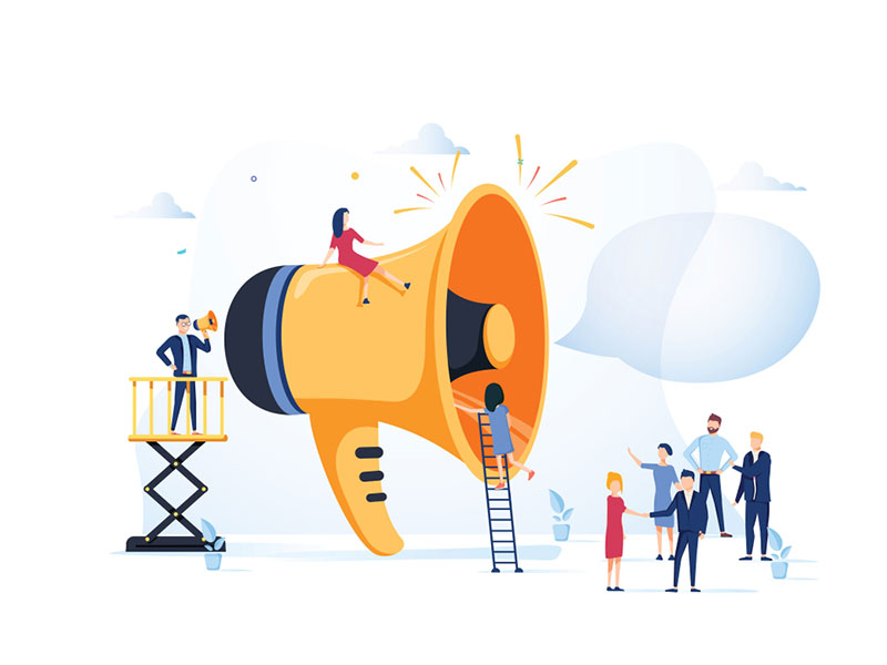 Promotion de la publicité commerciale et communication d'entreprise avec des hauts parleurs