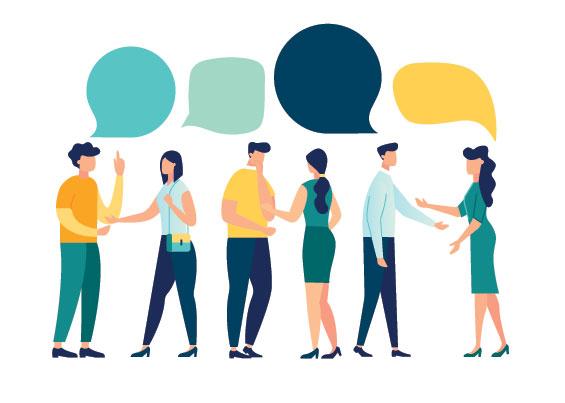 Hommes d'affaires discutent de réseaux sociaux, d'actualités, de réseaux sociaux, de chat, de dialogue, de bulles de discours